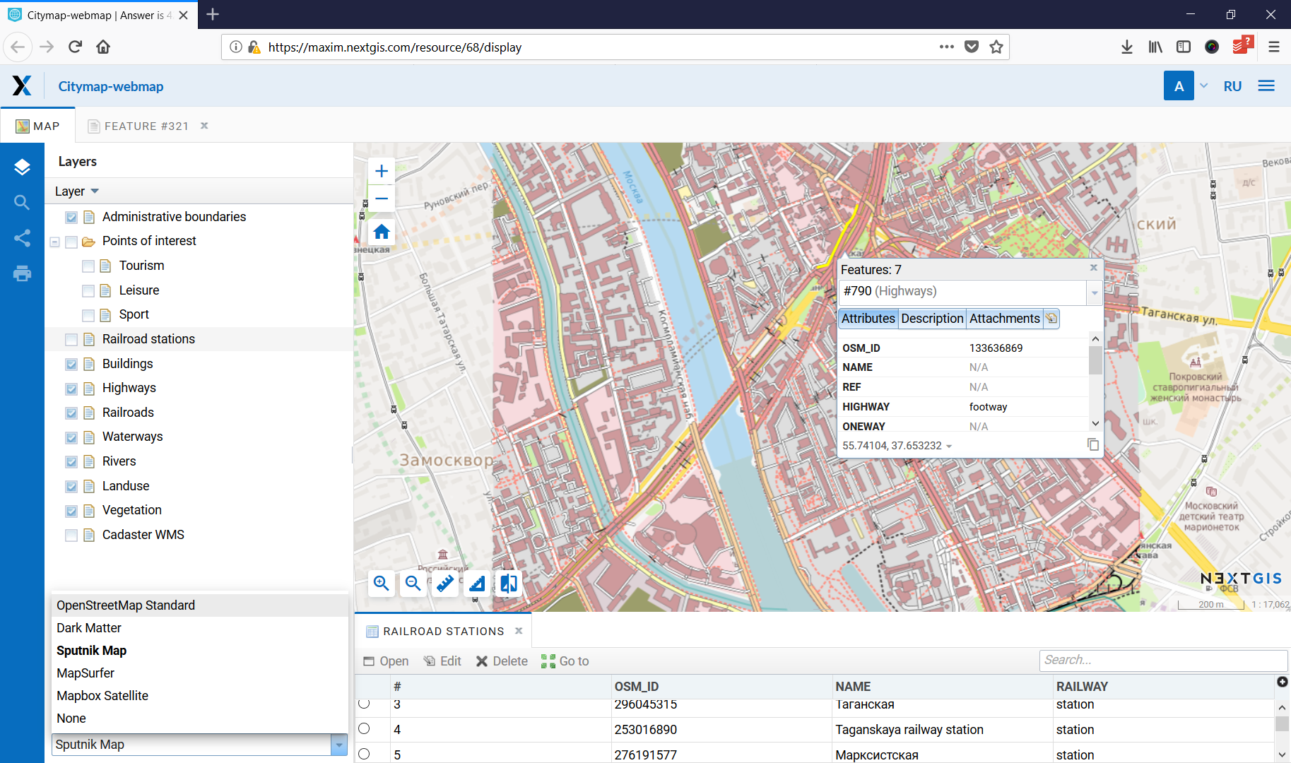 City map as an example of Web GIS