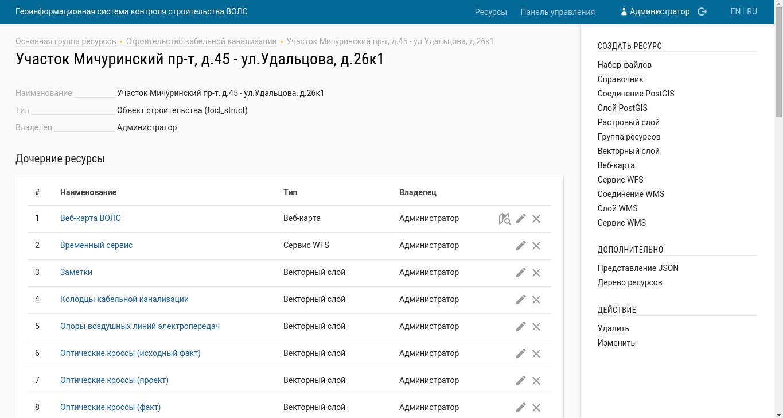 Веб-компонент, интерфейс администратора - общий вид